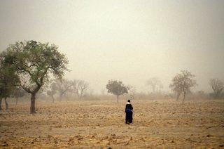 Mali, 2015 A man walks through an empty field in Mali.