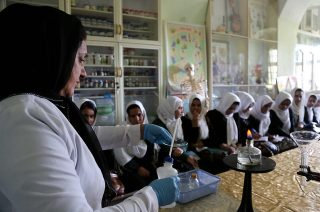 Chemistry experiment at a school in Herat City, Afghanistan